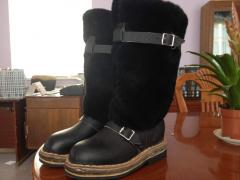 High fur boots from a natural sheepskin Kazakhstan