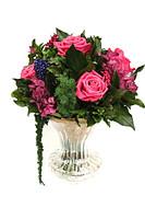 Букет в стеклянной вазе. Розы стандарт цвета