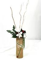 Букет с тремя орхидеями, красной розой, листьями