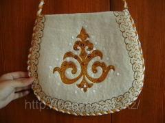 Felt bag with the Kazakh ornament. It is decorated
