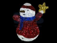 Figure the Snowman with a star, LED illumination