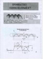 Профнастил  оцинкованный толщина 0,7 - Н21, Н27, Н35, Н45, Н60, Н75.