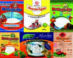 Packaging for products of the deep freezing with