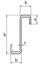 The steel bent thin-walled Z-shaped profile edged