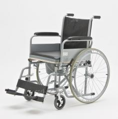 Wheeled chairs with sanitary equipment for