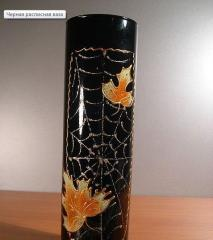 Black painted vase