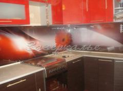 Кухонный фартук из стекла (Скинали) в красно-белой