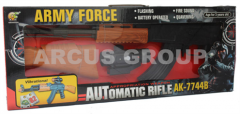 AK47 submachine gun. Sound, laser sigh