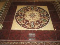 Panel from porcelain tile and granite and marble