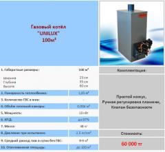 Gas copper of Unilux 100 of m ²