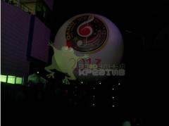 Air balloon in the sky with illumination