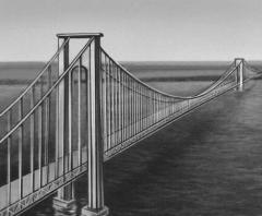 Metal suspension bridge