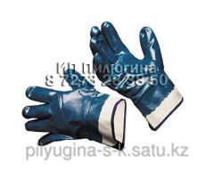 Перчатки нитриловые, манжет-крага полный облив,