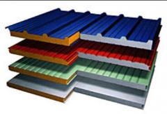Sandwich panel construction (front, wall, roofing)