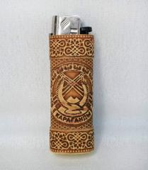 Birch bark case for lighter the Coat of arms