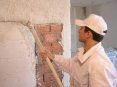 Mixes, solutions plaster for internal works