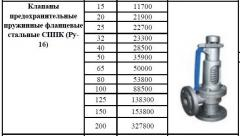 Spring safety valve flange steel SPPK (Ru-16)