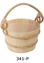 Wooden tub with the plastic insert 4 liters, the handle of the rotangovy palm tree