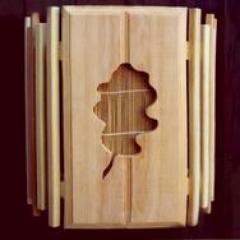Абажур АКБ-14 с бамбуковой вставкой настенный(листик дуб)
