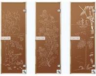BURATINO door glass bronze / drawing / brown / box