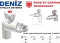 Кран радиаторный шаровой угловой Deniz 20мм