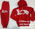 Спортивный костюм для девочки от 1 до 4 лет, цвет красный с аппликацией
