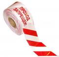 Лента оградительная Стандарт с логотипом Проход запрещен ЛО-250/75 СТ, длиной 250 п.м, шириной 75 мм, бело-красная/черно-желтая