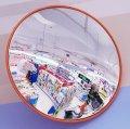 Зеркало для помещений оранжевый корпус 800мм с кронштейном к стене