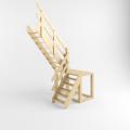 Деревянная лестница на тетиве с поворотом на 180 градусов