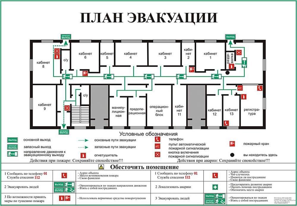 Схема эвакуации при пожаре план