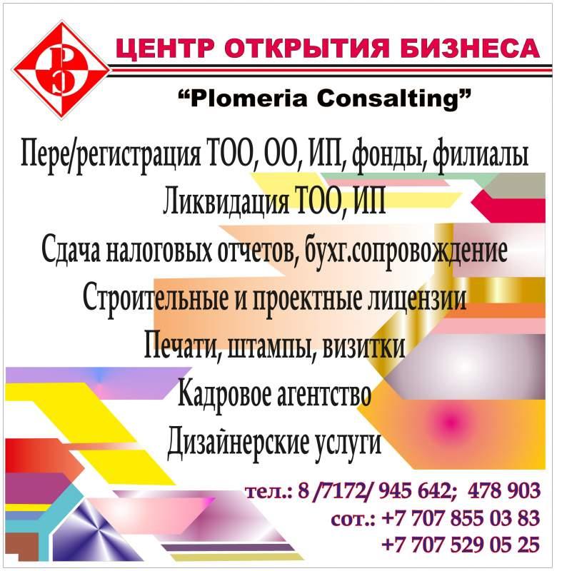 Регистрация ТОО, филиалов,  иностранных представительств а Астане.
