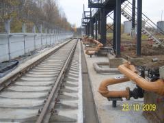 Construction of vygruzochny platforms and railway