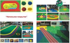 Уклада резинового покрытия для детских площадок,