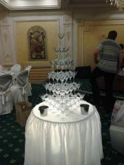 Pyramid from glasses of champagne, the Catering,