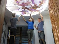 Installation of stained-glass windows, Dressing of
