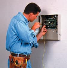 Electric installation work of the alarm system and