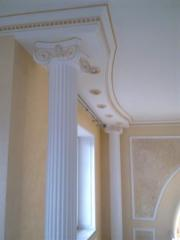 The stucco molding from plaster to order