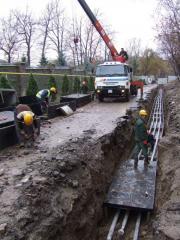 Работы по прокладке наружной сети канализации