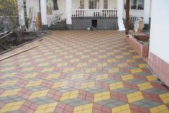 Laying of a stone blocks and paving slabs