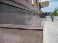 Installation of granite on a facade of buildings
