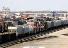 Transportations of combined freights on railway.