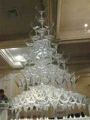 Pyramid from glasses of champagne in Almaty