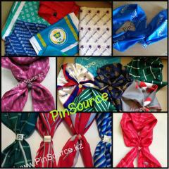 Production of scarfs, ties, scarfs, desktop tags,