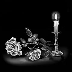 Engraving Candle and rose