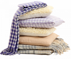 Cleaning of plaids, blankets, pillows,