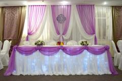 Свадебное оформление стола молодых, банкетных залов