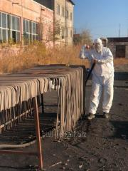 Sandblast cleaning of metal