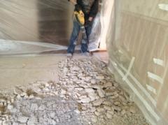 Демонтаж бетонной растворной стяжки толщ до 5см