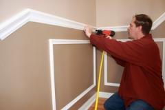 Installation of a polyurethane molding to a wall,