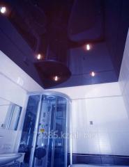 Installation of stretch ceilings in bathroom